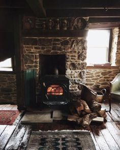 Fireplace in old farmhouse/stone cottage - love this design and overall feeling of warmth with loved ones around the fire Forest Cottage, Witch Cottage, Cottage In The Woods, Cabins In The Woods, Forest Cabin, Irish Cottage, Witch House, Cottage Interiors, Rustic Interiors