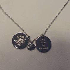 Be true to yourself necklace. handmade pure silver, 2 coins, the tree from Bygdøy oslo, the clam our trademark!!! Order here: www.inmotionessentials.com