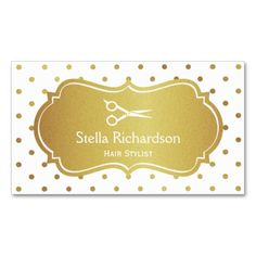 Hair Stylist Appointment - White Gold Glitter Dots Double-Sided Standard Business Cards (Pack Of 100)