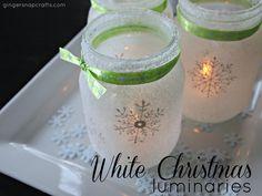 White Christmas Mason Jar Luminaries {tutorial}
