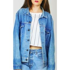 Re:dream Vintage Levis Blue   Red Tab   Denim Loose Jacket ($50) ❤ liked on Polyvore featuring outerwear, jackets, blue, loose jacket, blue jackets, long sleeve jacket, blue jean jacket and denim jackets