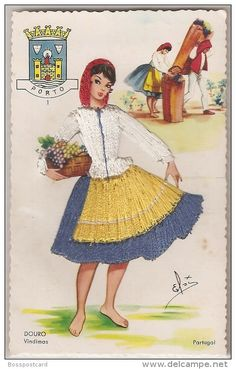 Brodées - Carte Brodée: Porto - Douro - Vindimas. Portugal. Costumes. Postcard Embroidery. Postal Bordado.