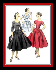 Vintage 1956-GLAMOROUS PARTY DRESS-Sewing Pattern-Two Styles-Empire Waist-Shaped Midriff Section-Raglan Sleeves-Circle Skirt-Size 16-Rare by FarfallaDesignStudio on Etsy