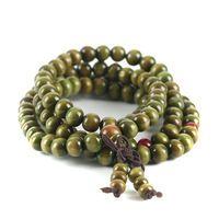 Green Natural Sandal Beads Charm Bracelets New Antique Wooden Beads Buddha Bracelet Men's Jewelry Women 1289