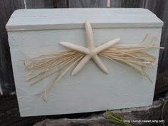 Wedding Treasure Chest Card Box in Custom Colors-Crackle White Washed with Large White Sea Starfish and Raffia