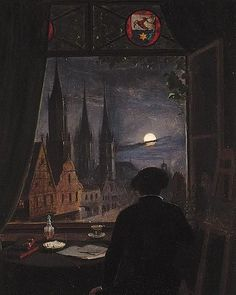 An artist in his studio contemplating a moonlit street from his opened window, After Caspar David Friedrich.