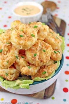 Bang Bang Shrimp _ A copycat restaurant recipe for spicy, crunchy Bang Bang Shrimp. They make great appetizers, party or game day snacks!