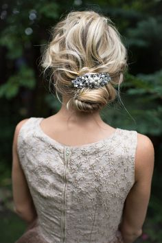 Pearl Vintage Bridal Hair comb Gold Silver by LottieDaDesigns