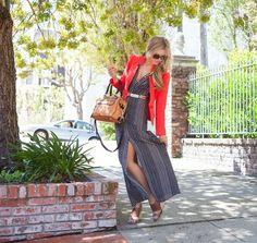 Spotted Maxi Dress with Bright Blazer  Photography by @Ashley Walters Walters Batz  #maxidress #blazer