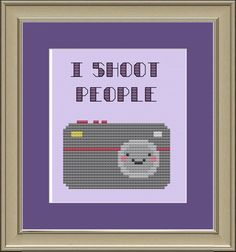 I shoot people cute camera crossstitch by nerdylittlestitcher, $3.00