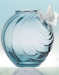 Rene Lalique, 2 Papillons Vase, Ocean Blue