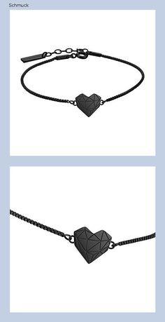 Liebeskind Berlin Damen Armband Herz Edelstahl Silber 20 cm (schwarz), LJ-0328-B-V 17 - 14h5