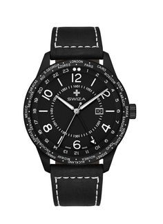 Case: Stainless steel 316L with black PVD coating Size: 48mm Lug width: 24mm Strap: Genuine calf leather Movement: Swiss precision quartz movement / Ronda 5