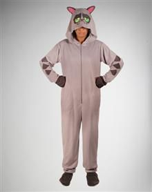 Angry Cat Footed Hooded Adult Pajamas