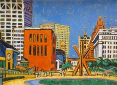 "DI SSUVERO DOWNTOWN, Giclee Print, 29 1/2 x 40 3/4"" Milwaukee City, Living Room Plan, City Painting, Google Images, Giclee Print, Contemporary Art, Art Gallery, Museum, Artist"