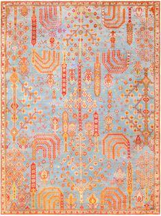 Antique Turkish Oushak Rug 47412 Detail/Large View - By Nazmiyal. Antique Turkish Oushak Carpet, Origin: Turkey, Circa: Turn of the 20th Century