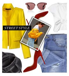 """""""Snap It: NYFW Street Style"""" by deeyanago ❤ liked on Polyvore featuring Alexandre Vauthier, Taya, Balenciaga, Oliver Peoples, Christian Louboutin, NYFW and StreetSyle"""