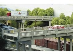 Rix Products N Scale 50' 1930's Highway Overpass Kit w/Deco Concrete Railings - Deck Only