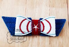 Captain Bow - In the hoop felt bow, Felt Bow embroidery design America Bow  headband embellishment super hero bow in the hoop bow
