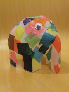 Elmer the elephant craft recycled from a plastic milk jug, tissue paper and googly eyes - adorable