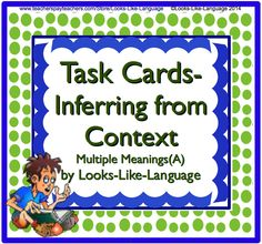 Achieve vocabulary standards using these task cards from Looks-Like-Language! Infer from sentence context and practice row-roll. Word wall, too! $