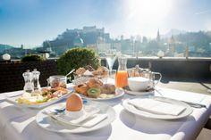 SALZBURG - Steinterrasse - make breakfast reservation Coffee Shops, Champagne Breakfast, Brunch, Hotels, Perfect Cup, How To Make Breakfast, Vienna, Mid-century Modern, Buen Dia