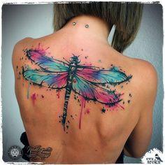 Splashy watercolor dragonfly tattoo by Ewa Sroka