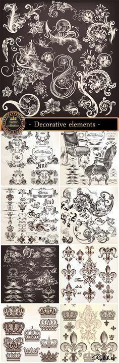 Геральдика, декоративные векторные элементы для дизайна