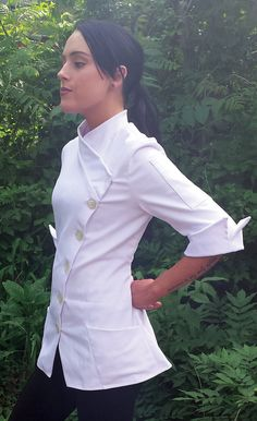 Women's asian style designer Chef Coat in stock