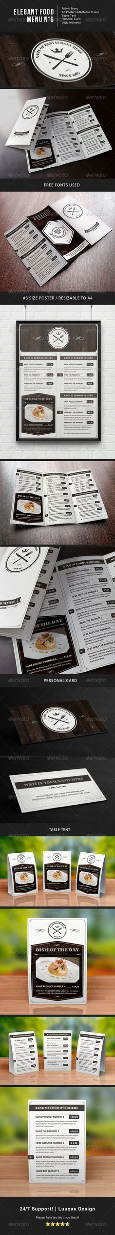 Elegant Food Menu 6 Features: Trifold A4 menu A3 Menu Poster (Resizable to a4) Table tent Personal card Logo included Very Easy to add your own text and image. Bleeds: 5mm CMYK. Print Ready.