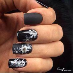Beautiful winter nails, Black nails ideas, Evening nails, Matte black nails, Matte nails, Nails with rhinestones ideas, New year nails ideas 2017, New years nails
