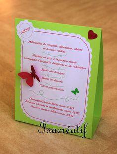 Menu vert, rose et blanc avec motifs papillons et coeurs : Autres papeterie par isacreatif