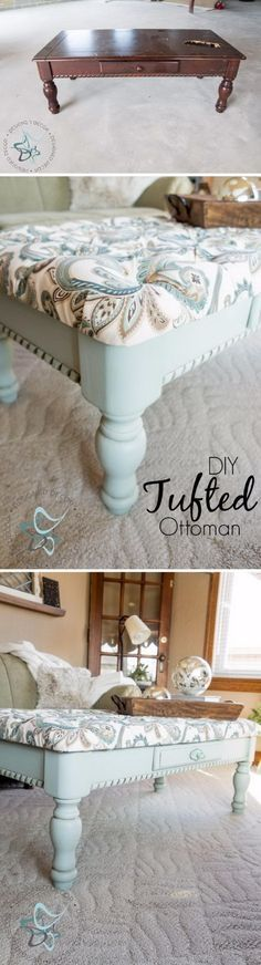 DIY Tufted Coffee Table Bench. [and I have a beat up old square coffee table. hmmmm. jh]