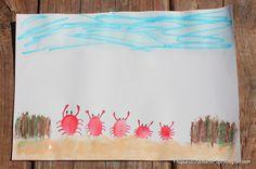 Fingerprint Crabs CraftPenguin Family Fingerprint ArtRainbow Caterpillar Fingerprint Craft