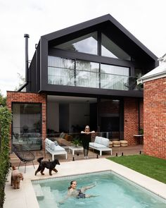 home remodel exterior curb appeal Building Design, Building A House, Modern Brick House, House Extensions, Industrial House, Facade House, House Goals, House Colors, Exterior Design
