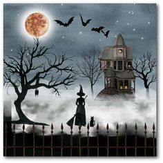 The Holiday Aisle 'Harvest Moon I' Graphic Art Print on Wrapped Canvas Halloween Wall Decor, Halloween Painting, Halloween Design, Vintage Halloween, Fall Halloween, Halloween Crafts, Halloween Decorations, Halloween Canvas Paintings, Halloween Printable