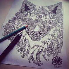 Cool Design Ink Drawing of Wolf