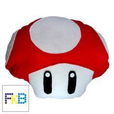 handmade mario red mushroom pillow #frikibeads #pillow #mario #cojin #almohada #mushroom #redmushroom