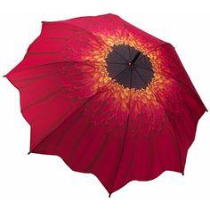 Galleria Art Print Walking Length Umbrella - Red Daisy