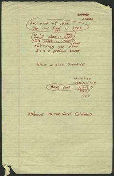 Original Hotel California lyrics in Don Henley's hand