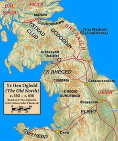 The Gododdin (Welsh pronunciation: [ɡoˈdoðin]) were a Brittonic people of north-eastern Britain (modern south-east Scotland and north-east England) in the sub-Roman period, the area known as the Hen Ogledd or Old North.