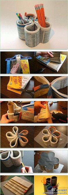 DIY Phone Book Pen Holder for back to school projects!  http://marysvillelib.org/home