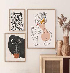 Boho Art Set of 3 Prints | Abstract Landscape Poster Bundle | Line Art Gallery Wall | Rust Print Set | Horizon Sun Print Set | Boho Wall Art