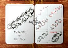 Andante - Step by Step Zentangle Pattern by Lily Moon Zentangle Drawings, Doodles Zentangles, Doodle Drawings, Doodle Patterns, Zentangle Patterns, Line Patterns, Doodle Borders, Tangle Doodle, Zen Doodle