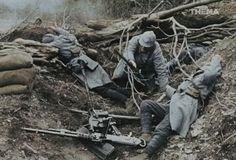 1916, A destroyed French machine-gun nest during the Battle of Verdun.