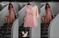 Anastasia Steele's style in Fifty Shades of Grey goes from young girl to young women as she finds herself and becomes more confident throug. Anastasia Steele Style, Anastasia Steele Outfits, Anastasia Grey, Anastacia Steele, Ana Steele, Dakota Johnson Style, Funky Dresses, Dress Outfits, Fashion Outfits