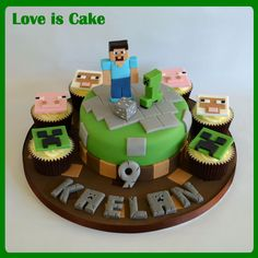 This minecraft cake was made for my own son who is a HUGE fan. All handmade and fully edible, though he won't let us eat 'Steve' or the 'Creeper' :)