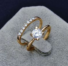 Fashion jewelry New 18k gold filled CZ zircon finger ring set wedding gift for women ladies