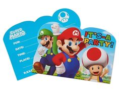 Super MARIO Brothers INVITATIONS Video Game Birthday Party Supplies Stationary