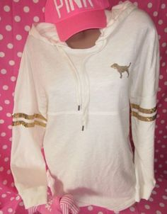Victorias Secret Pink Sequins Bling Fashion Gold Varsity Hoodie All Sizes Avail | eBay